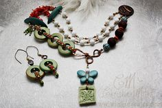 Paradise Necklace necklace and earrings #beadsoupblogparty Love the seed bead links!
