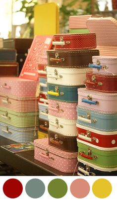 Lovely vintage suitcases!  I used to use my Nana's old Red Vintage suitcase, a classic, wish I knew where it was now!!!  These are too cute <3