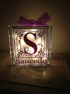 Last Name Monogram Glass Block Light by KimsKustomKreations1