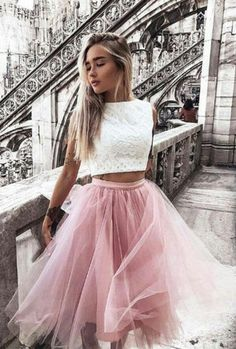 Stylish two pieces lace short prom dress, homecoming #Short Homecoming Dress#HomecomingDresses#Short PromDresses#Short CocktailDresses#HomecomingDresses