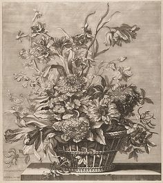 Jean-Baptiste Monnoyer (French, 1636–1699). Basket of Flowers from the Book of Several Baskets of Flowers, Designed and Engraved by Baptiste Monnoyer (Livre de Plusieurs Corbeilles de Fleurs dessiné et gravé par Baptiste Monnoyer), 17th century. The Metropolitan Museum of Art, New York. Rogers Fund, 1920 (20.61.2(48)) #spring