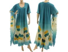 Artsy hand dyed boho maxi dress in teal summer long von classydress
