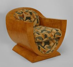 """#1 of 2 Pair of French Art Deco ash club chairs with padded upholstered scoop back & seat on U form support & platform (attr. Pierre Chareau, c.1925) 28"""" w x 27.25"""" d x 29.5"""" h  http://www.newel.com/product.php?id=1913#!prettyPhoto"""