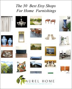 Best of Etsy - 50 best etsy shops - furniture, lighting, art, pillows, collectibles, window treatments, antiques, vintage pieces, Chinoiserie...
