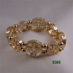 Clear Gold Round Crystal Medallion Stretch Bracelet