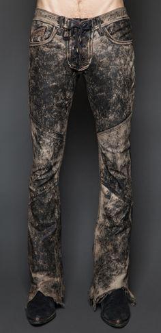 Mens - Bottoms - Mens Rocker Fit Leather Lace Up Pants