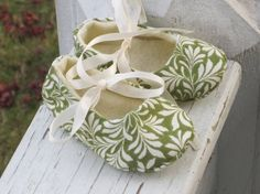 baby girl ballet slippers in olive green by bonniebluebelle, $15.00
