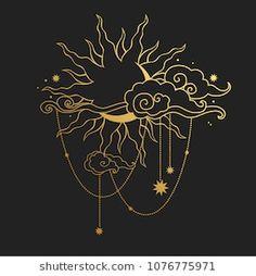 Moon and Solar on black background. Vector illustration Vector Serigrafia Obtain Painting Inspiration, Tattoo Inspiration, Art Inspo, Graphic Pattern, Graphic Design, Moon Art, Doodle Art, Body Art Tattoos, Black Backgrounds