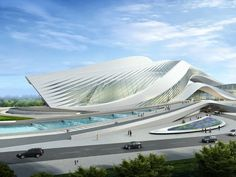 The New Century City Art Centre in Chengdu is a remarkable futuristic architectural concept by Zaha Hadid. It might become a new cultural landmark of the Sichuan Province with regional arts and music centers, featuring a huge collection of world-class arts, performances and zones for leisure time activities...