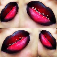 Black and Red Ombré Lip Instagram @MakeupBy_Tee