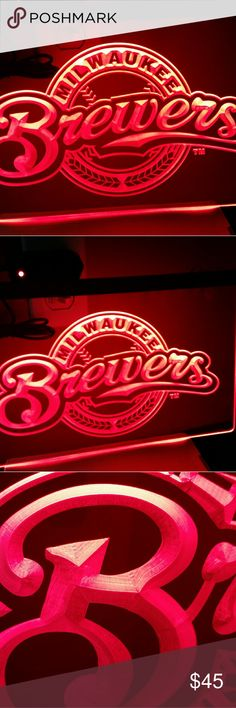 "SALE!!! -12""X 8""  BREWERS LED HANGING LIGHT SIGN 12""X 8"" RED Milwaukee Brewers Led Light Sign. Comes With Chain. 3D Etched. ARCRYLIC GLASS Brand New. Firm price Other"