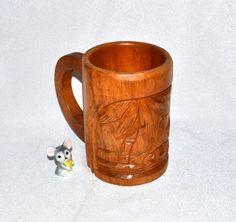 New to ChicMouseVintage on Etsy: Tiki Carved Wood Mug - Monkey Pod - Phillipines - Tiki Bar Ready - Palm Trees - Polynesian Hut (15.00 USD)