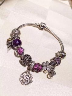 50% OFF!!! $279 Pandora Charm Bracelet Pink Purple. Hot Sale!!! SKU: CB01649 - PANDORA Bracelet Ideas