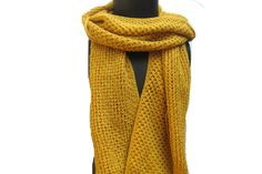 Knitted scarf/knit scarf scarf/ muffler/ unisex scarf/ mustard yellow muffler/ woolen muffler/ gift scarf/gift item. by vibrantscarves on Etsy