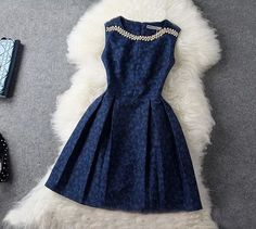 Fashion Blue Beading Rhinestone Embroidered Dress Party Dress but why isn't it longer? Aren't knee length skirts a party Pretty Outfits, Pretty Dresses, Lace Dresses, Beautiful Dresses, Short Dresses, Cute Outfits, Gorgeous Dress, Sleeveless Dresses, Fall Outfits
