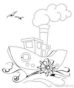 Shape Tracing Worksheets, Preschool Worksheets, Dotted Drawings, Easy Drawings, Coloring Sheets, Coloring Pages, Transportation Theme Preschool, Boat Theme, Spanking Art