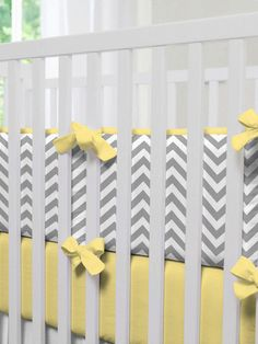 Gray & Yellow Zig Zag Crib Bumper by Carousel Designs on Gilt. #baby #nursery