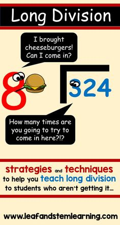 """The dreaded words that send chills down the backs of students and teachers alike... Long Division!  What can you do for your students who just don't seem to """"get it"""" using the traditional methods.  Visit www.leafandstemlearning.com to read more!"""