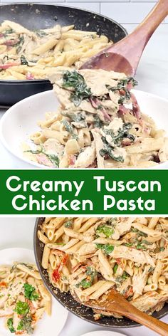 This easy, one pot creamy tuscan chicken pasta is made with penne, spinach, and sun dried tomatoes in a quick and easy cream sauce. This stove top skillet recipe can be made in 30 minutes, and is definitely tasty! Chicken Pasta Casserole, Chicken Pasta Dishes, Chicken Spinach Pasta, Tuscan Chicken Pasta, Shrimp Pasta, Pasta Recipes Video, Penne Pasta Recipes, Easy Chicken Recipes, Pasta Food