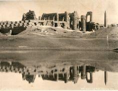 The Grand Temple and Sacred Lake at Karnak, Egypt, circa 1870s.