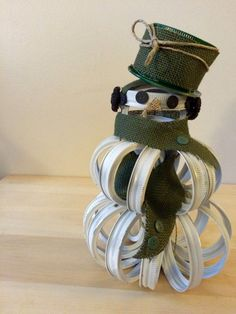 Upcycled Mason Canning Jar Lid Band Snowman by MyWhimsicalLily