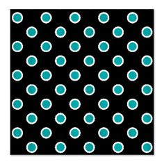 Turquoise Dots on Black Shower Curtain