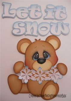 Premade Paper Pieced Winter Bear for Scrapbook Page by Babs | eBay