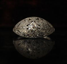 1930s Leafy Platinum and Diamond Ring, Old European and Single Cuts, (sold)