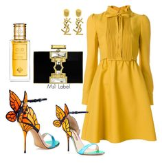 """Hello yellow"" by ms1-ltu on Polyvore featuring Valentino, Sophia Webster, Judith Leiber, Perris Monte Carlo and Yves Saint Laurent"