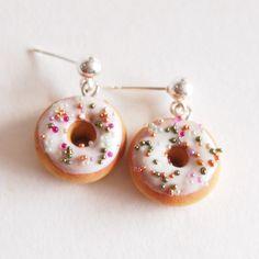 Doughnut Earrings  Donut Earrings Food Jewelry  Food by Jollibeadz, $15.00