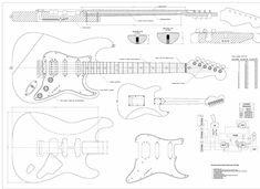 Full Scale Guitar Plans - Fender Stratocaster HSS Electric Guitar - actual size -- Continue to the product at the image link. (This is an affiliate link) Guitar Diy, Music Guitar, Cool Guitar, Guitar Chords, Acoustic Guitar, Guitar Room, Fender Stratocaster Hss, Telecaster Guitar, Fender Guitars