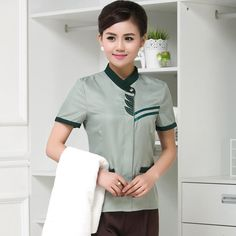 Uniformonline offers uniform of high quality and customised to bring out the best in your company. We create intelligent uniform that improve the efficiency of your workers Housekeeping Uniform, Hotel Uniform, Cat Hotel, Office Blouse, Staff Uniforms, Different Types Of Fabric, Buying Wholesale, Design Your Own, Printing On Fabric