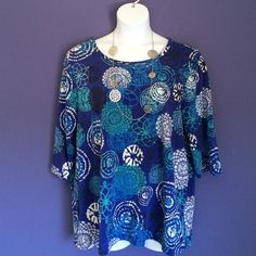 """Royal Blue Print Shirt This shirt says """"hello, fun.""""  Perfect for the weekend or casual event.    Material: 95% Cotton/5% Spandex.  Measurements: Length - 29"""", Bust 25.5"""" Liz & Me Sport Tops Tees - Short Sleeve"""