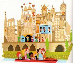 "Disneyland ""it's a small world"" illustration by Mary Blair Disney Parks, Disney Pixar, Walt Disney, Retro Disney, Disney Love, Disney Magic, Mary Blair, Art Journal Pages, Journal Vintage"