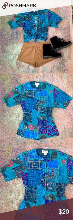 Vintage patchwork urban indie button blouse top Vintage mosaic patchwork button down blouse. Super unique print. Can button all the way down as a blouse or can be tied into a crop or kimono like throw. Very versatile. Brand is Lee Winter. Size labeled small. But could fit an XS-medium depending on fit. Vintage Tops Button Down Shirts