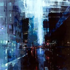 """""""NYC 30"""" 28 x 28 inches Oil on Panel One for the upcoming solo in just under two weeks, about 100 new pieces including paintings, drawings, and many original Polaroids from the home made cameras (which will be available first come first served on the night of the opening, in person only, one per person). And FREE COCKTAILS. *most important* Opens August 26th, from 6-8pm, at the @johnpencegallery in SF, CA."""