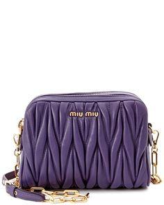Miu Miu Matelasse Quilted Leather Camera Bag Purple ➽  https://www.ruelala.com/boutique/product/76643/11995652/?cm_mmc_o=REkbEw%20-pMwyfblbET*ZwkkB%20mBgbwfY*H1d%20ZwkkB%20mBgbwfY*NvovSi
