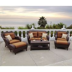 Thomasville Messina 4 Piece Patio Sectional Seating Set With Cocoa Cushions Fg Mn4pcsect Cc At