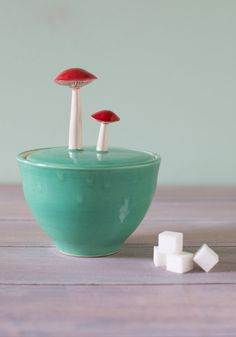 Forage for Sweets Sugar Bowl. You wont have to search hard for this ceramic sugar bowl! #green #modcloth