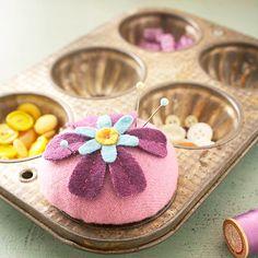 Purple flower wool pincushion