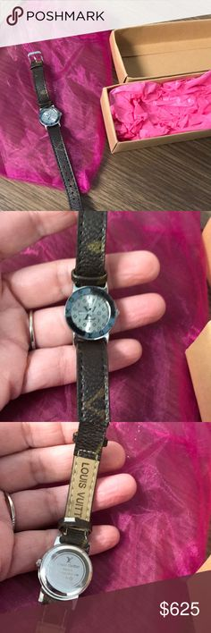 Louis Vuitton Women's Beautiful Watch running Louis Vuitton Women's Watch Preowned Beautiful Watch running purchased as authentic off other site authenticated.  Band has some wear cracks in band but still functioning see pics.  A silver band would look amazing on this I just never went to get another band. Louis Vuitton Accessories Watches