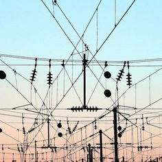 Electricity, sunset, wires, energy, cables, pink, blue, sillouette, urban, city, sky, abstract, lines, shapes, geometry