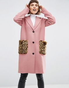 Image 1 ofASOS Coat in Wool Blend with Faux Fur Leopard Pockets
