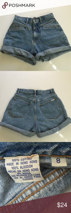 Vintage Bill Blass High Waisted Shorts, size 8* Vintage Bill Blass High Waisted shorts in 1990's size 8, flat measure of waist is 13.5. Rise is 12 and inseam with cuffs is 2.75 and uncuffed is 4.25. Please ask if you have any questions. Bill Blass Shorts Jean Shorts