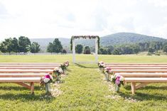 wood benches for the ceremony  - Real Southern Accents
