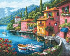 Sung Kim Villagio dal Lago painting for sale, this painting is available as handmade reproduction. Shop for Sung Kim Villagio dal Lago painting and frame at a discount of off. Belle Image Nature, Lakeside Village, Paint By Number Kits, Beautiful Paintings, Landscape Paintings, Wall Paintings, Seascape Paintings, Scenery, Art Gallery