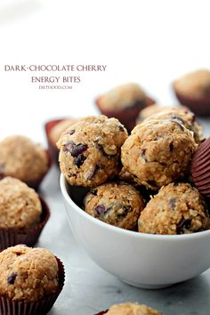 Dark Chocolate Cherry Energy Bites | www.diethood.com | Studded with dried cherries and loaded with dark chocolate chips, these healthy cookie energy bites are sweet, delicious, and incredibly easy to make! AND you don't have to bake!