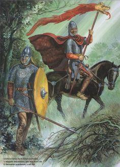 Sarmatians in Roman service: 1. Iazygian draconarius, late 2nd-3rd C AD 2. Sarmatian guardsman, c.AD 300