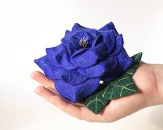 Royal blue flower brooch Statement brooch Blue rose brooch pin Felted rose jewelry Blue brooch Blue pin Blue jewelry Unique gift for Her