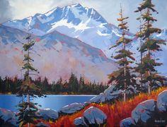 Acrylic on canvas 18 x 24 Mountain Landscape, Landscape Art, Landscape Paintings, Acrylic Paintings, Mountain Illustration, Mountain Paintings, Canadian Artists, Triptych, Tree Art